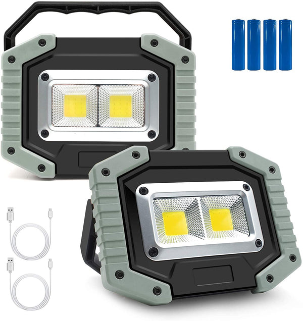 (FREE PRODUCT QTY.: 5) Portable LED Work Light 30W Rechargeable Waterproof Camping Lights (2-Pack)