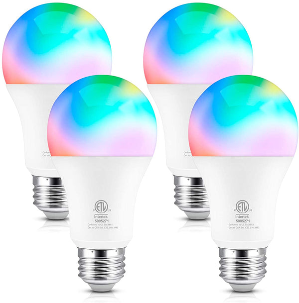 (FREE PRODUCT QTY.: 10)WiFi Smart Light Bulb, 120V E27 Base 800LM 9W, 4 Pack