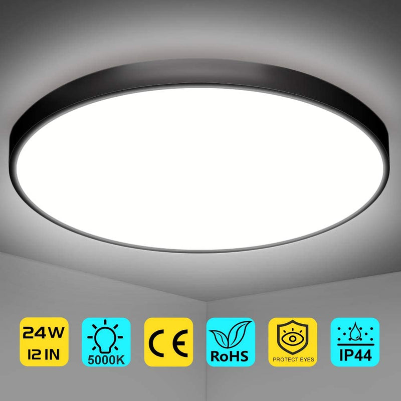 Free Shipping 2 Pack 12 Inch 24W Flush Mount LED Ceiling Light 2800 LM Black Round LED Ceiling Lamp
