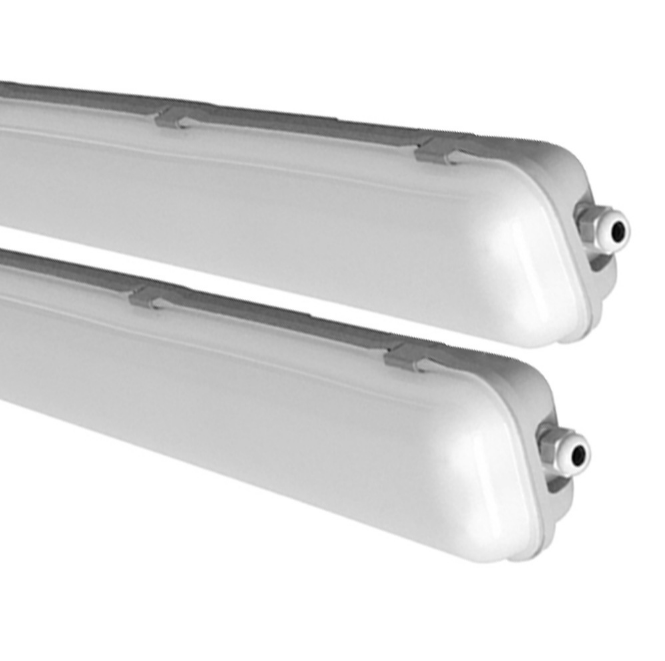 Milky White Cover T8 LED Tube Lights with Striped Clear Tri-proof T8 Tube Fixture for Double Tube