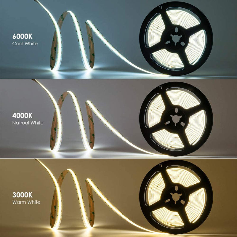 FCOB LED Strip 16.4FT/5M CRI90 480LEDs/m 12W/m 24V Dimmable LED Light Ribbon Indoor Use