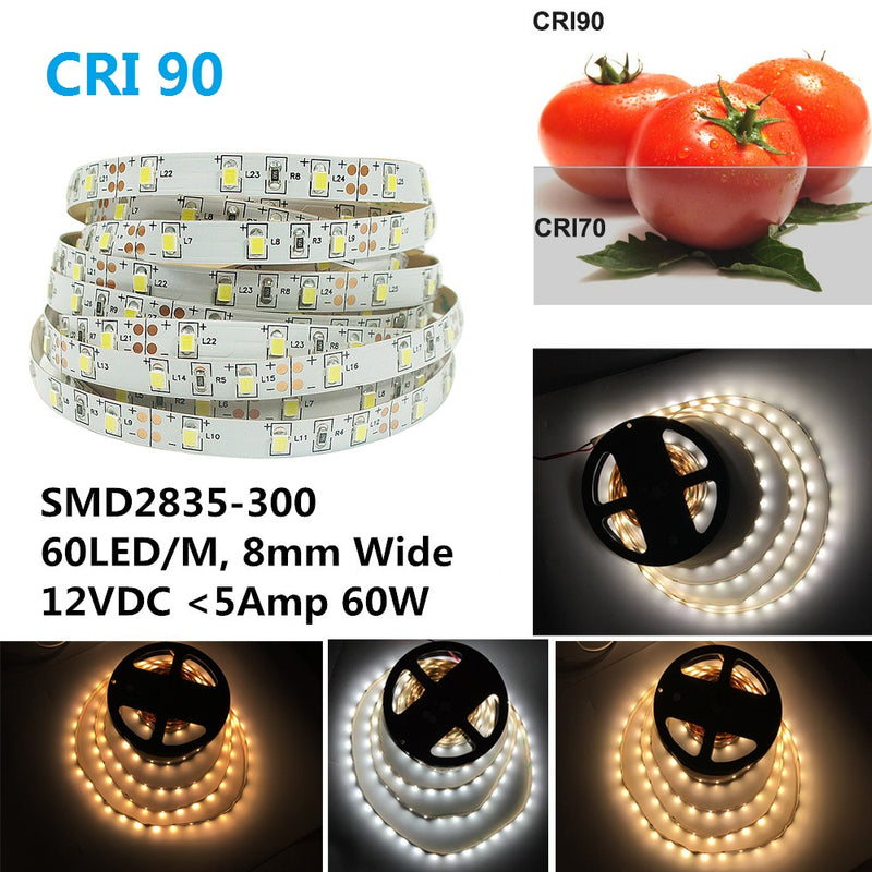 High CRI 90 LED Strips,  Flexible 5M LED Strips, SMD2835-300 60 LEDs 1000LM Per Meter 8mm Wide Tape