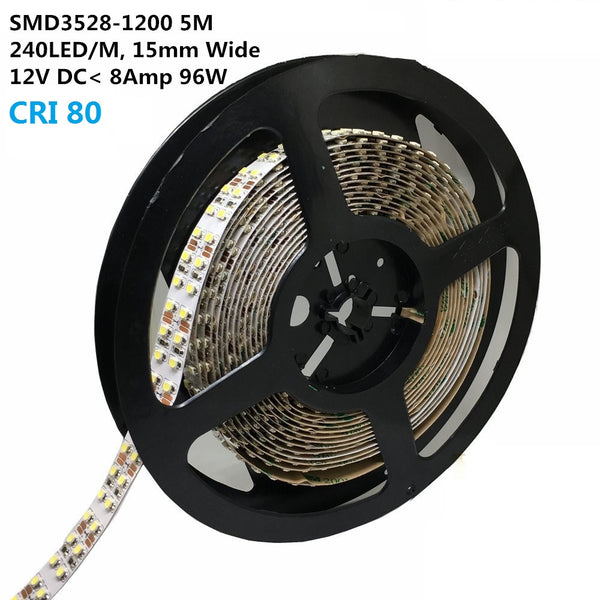 DC 12V Dimmable SMD3528-1200 Double Row Flexible LED Strips 240 LEDs Per Meter 15mm Width 1200lm Per Meter