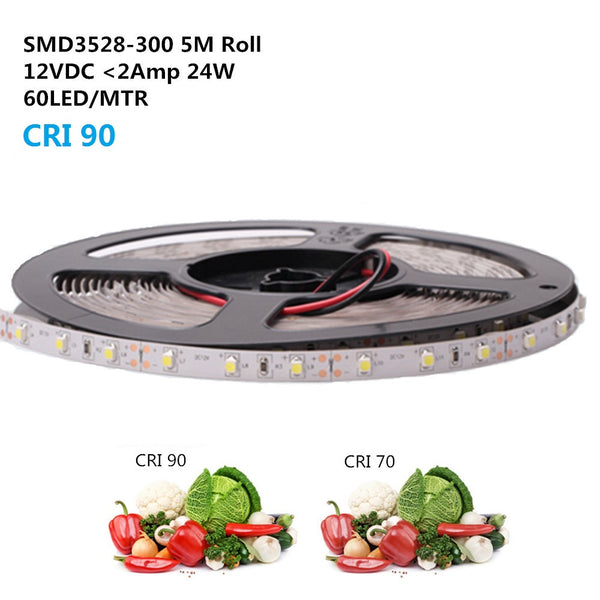 High CRI 90 Strip Light LED, Flexible 12V LED Strips, SMD3528-300 60 LEDs 300LM Per Meter, 8mm Wide Tape
