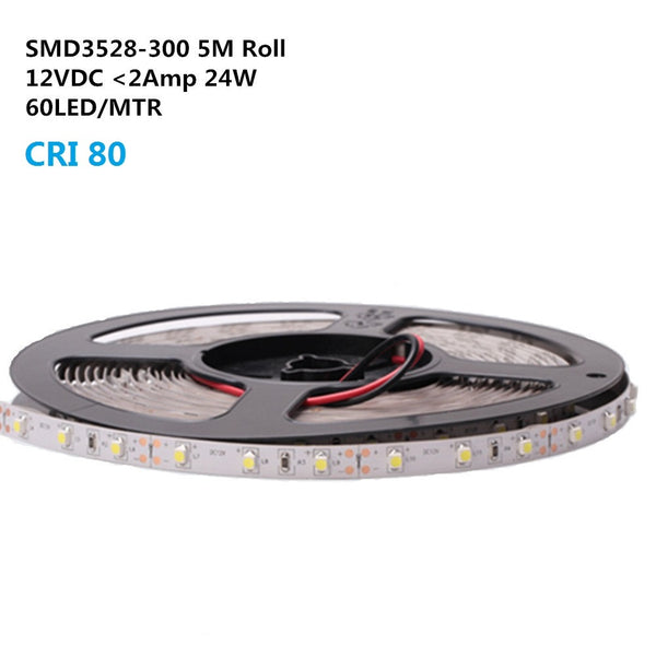 DC 12V Dimmable SMD3528-300 Flexible LED Strips 60 LEDs Per Meter 8mm Width 300lm Per Meter