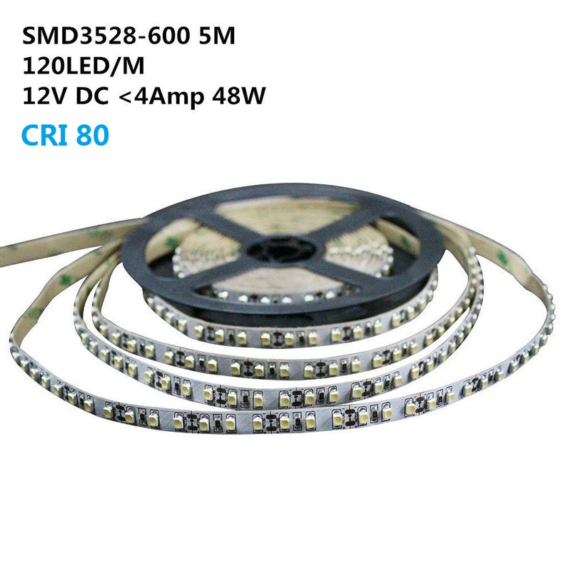 12V Dimmable SMD3528-600 Flexible LED Strips 120 LEDs Per Meter 8mm Width 600lm Per Meter
