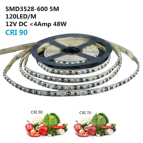 High CRI 90 LED light strips 5Meter (16.4ft) SMD3528-600 120 LEDs 600lm/Mtr Flexible LED Strips