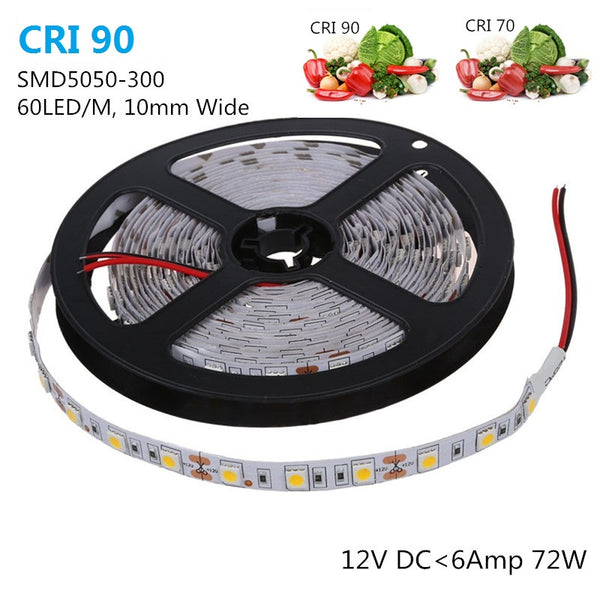 High CRI 90 LED Strip Lights, 5Meters (16.4ft) SMD5050-300, 60 LEDs 900LM Per Meter, DC 12V Dimmable Flexible LED Strips,10mm Wide Tape