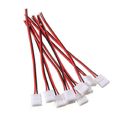10pcs Pack Solderless Snap Down 2 pin Conductor LED Strip Connector for 10mm Wide 5050 5630 Single Color Flex LED Strips