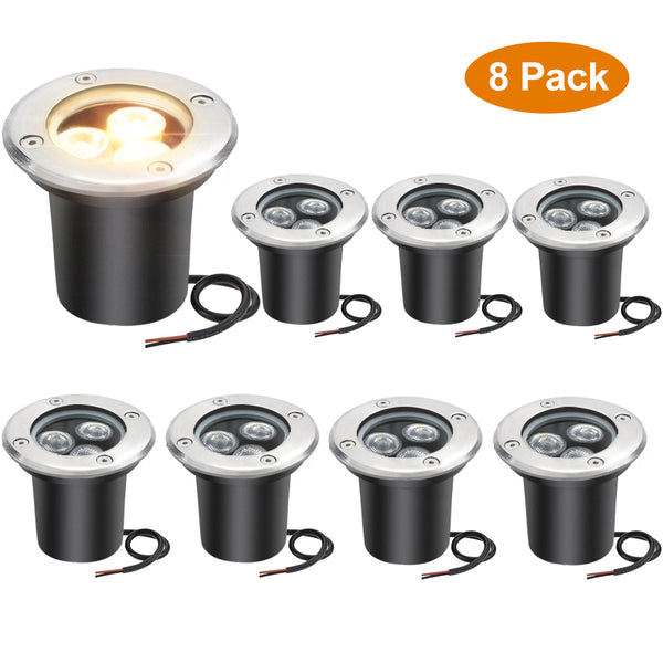 8 Pack 3W Outdoor Landscape Lights 12V Warm White 300 Lumens Waterproof IP67