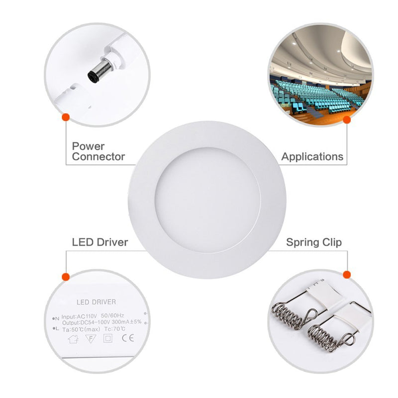 White Trim LED Panel Light 10mm Thick Round Shape Low Profile Recessed Ceiling Panel Lamp 100-240 V AC