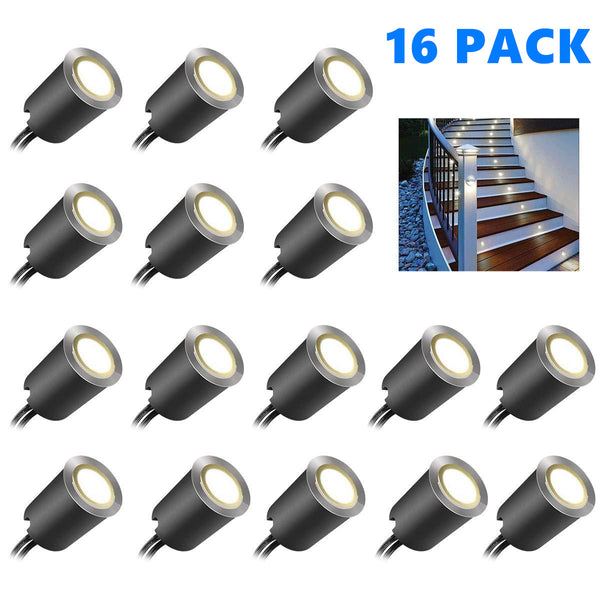 16 Pack Outdoor Recessed LED Deck Lights Kits IP67 Waterproof with Black Protection Shell LED Step Lights Kit for Garden/Yard/Steps/Bath Room/Kitchen