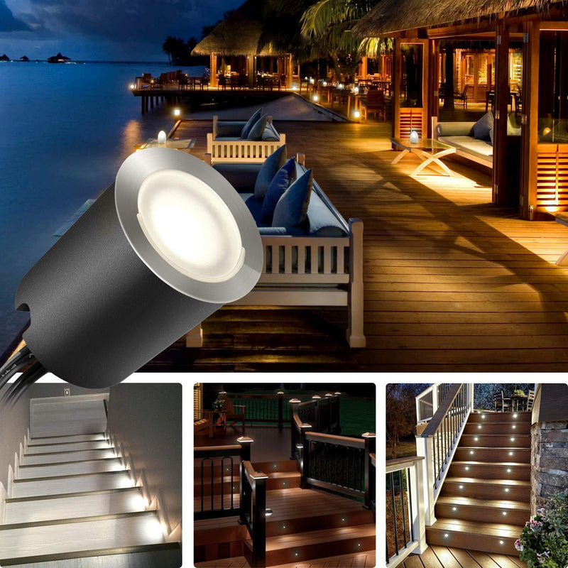 10 Pack Outdoor Recessed LED Deck Lights Kits IP67 Waterproof with Black Protection Shell LED Step Light for Garden/Yard/Steps/Bath Room/Kitchen
