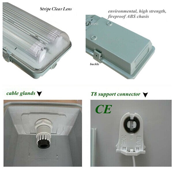 Stripe Clear Cover T8 LED Tube Lights with Striped Clear Tri-proof T8 Tube Fixture for Double Tube