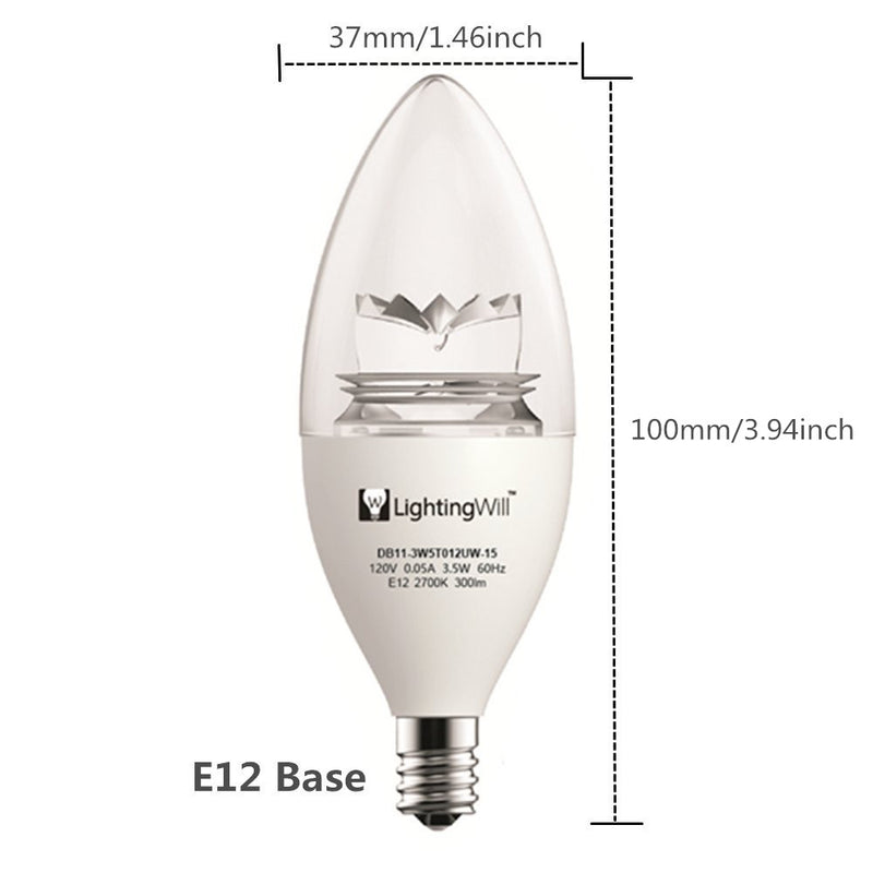 UL CUL Approved 3.5W 300 Lumen LED Candle Light Bulb Dimmable 2700K Warm White Color in E12 Edison Screw Base, 40 Watt Incandescent Lamp Equivalent