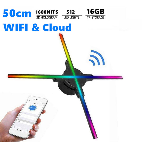 Free Shipping 50cm 3D Hologram LED Fan with 512pcs LEDs in 1600nits WiFi App & Clould Control