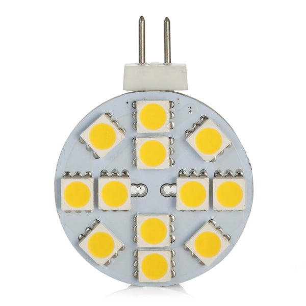 4 Pack 2.2 Watt (25 Watt Equivalent) DC12V Flat Round Wafer Disc Light Bulb G4 Bi-pin base Lamps with 12 pcs Tri-Chip LED SMD5050