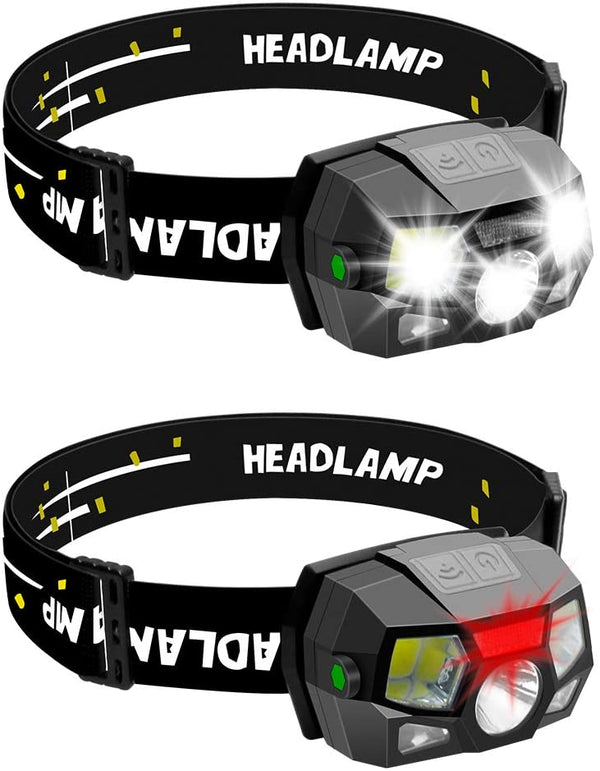 (FREE PRODUCT QTY.: 15) LED Headlamp Flashlight Battery Powered Helmet Light w/ Motion Sensor (2-Pack)