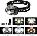 (FREE PRODUCT QTY.: 5) LED Headlamp Flashlight Battery Powered Helmet Light w/ Motion Sensor (2-Pack)