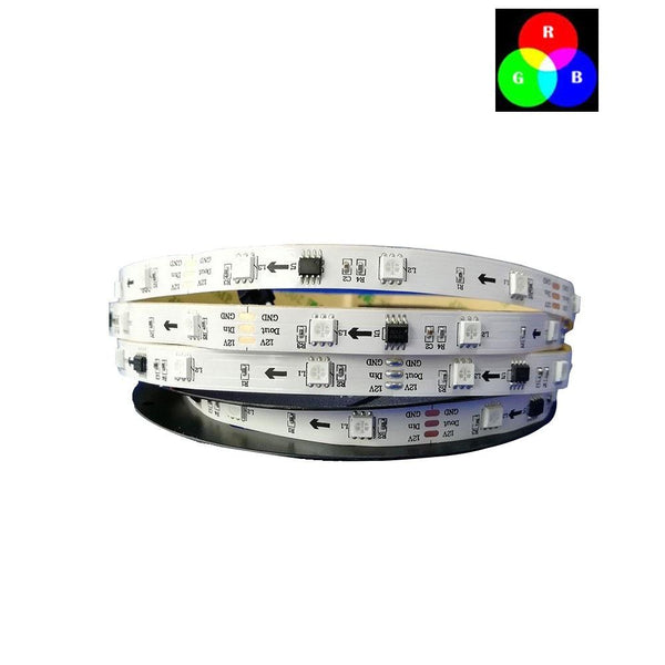 DC 12V TM1914 Breakpoint Continuingly 5050 RGB Color Changing Addressable LED Strip Light 16.4 Ft (500cm) 60LED/Mtr LED Pixel Flexible Tape White PCB