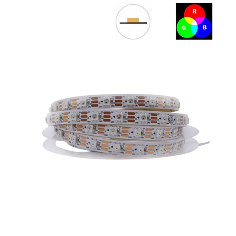 DC 5V TM1914 Breakpoint Continuingly 5050 RGB Color Changing Addressable LED Strip Light 16.4 Ft (500cm) 60LED/Mtr LED Pixel Flexible Tape White PCB