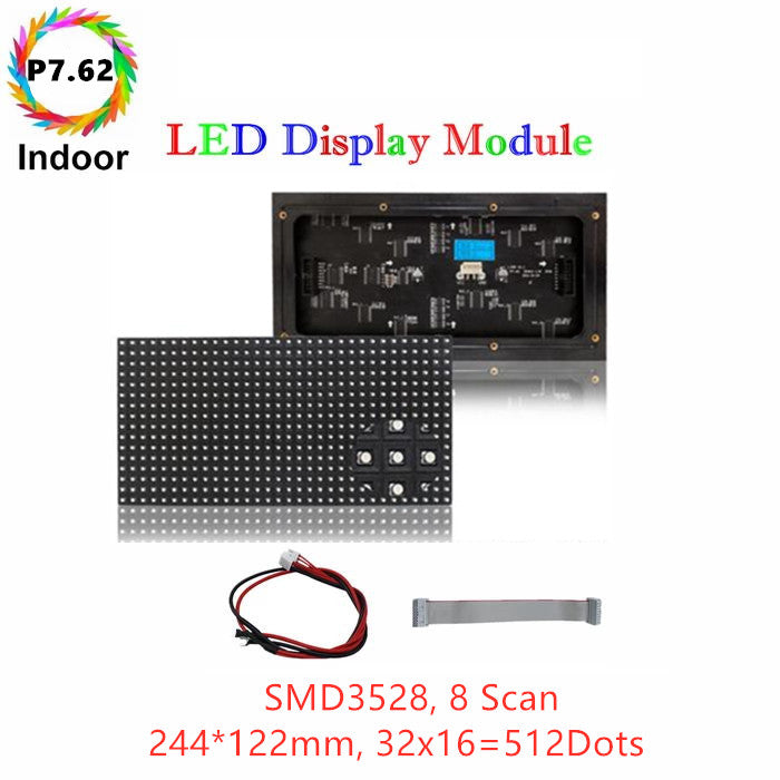 M-ID7.6 P7.62 Normal Indoor Series LED Module, Full RGB 7.62mm Pixel Pitch LED Display Tile in 244*122mm with 512 dots, 1/8 Scan, 800 Nits for indoor Display