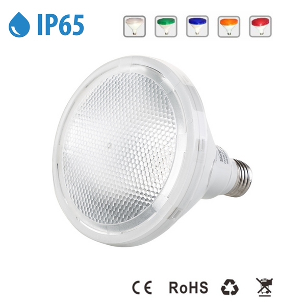 Outdoor PAR38 LED 12W White / Red / Green / Blue / Yellow Light Colors 60-degree Beam E27/E26 AC100-265V Non-Dimmable Waterproof IP65 Light Bulb