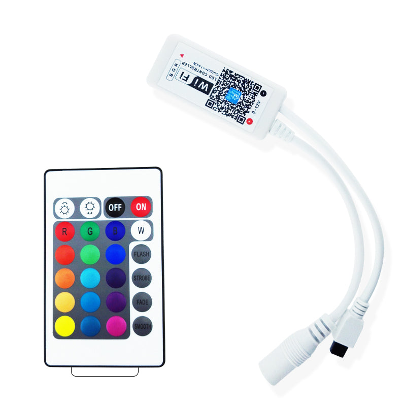 Wireless WiFi Smart Phone APP LED Controller or with 24Key IR Remote Controller for RGB LED Flexible Strip Lights