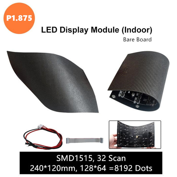 M-F1.8 (P1.875) Bare Board LED Module, 1.875mm Full RGB Pixel Panel Screen in 240 * 120 mm with 8192 dots, 1/32 Scan, 800 Nits for Indoor Display