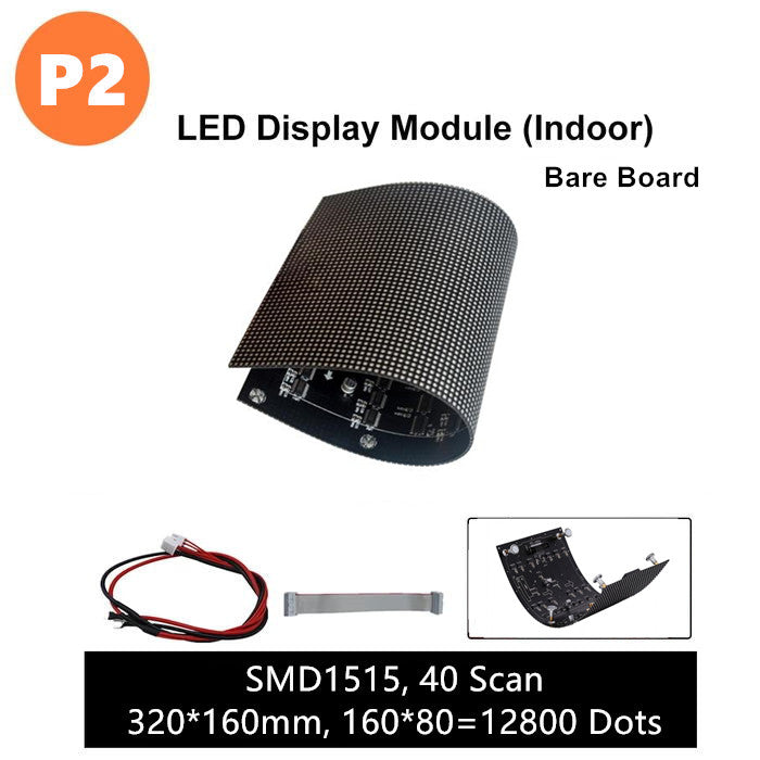 M-F2L (P2) Bare Board LED Module, 2mm Full RGB Pixel Panel Screen in 320 * 160 mm with 12800 dots, 1/40 Scan, 800 Nits LED Tile for Indoor Display