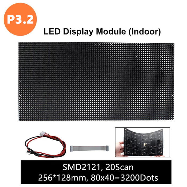 M-F3.2 (P3.2 ) Bare Board LED Module, 3.2mm Full RGB Digital Pixel Panel Screen in 256 * 128 mm with 3200 dots, 1/20 Scan, 800 Nits for Indoor Display