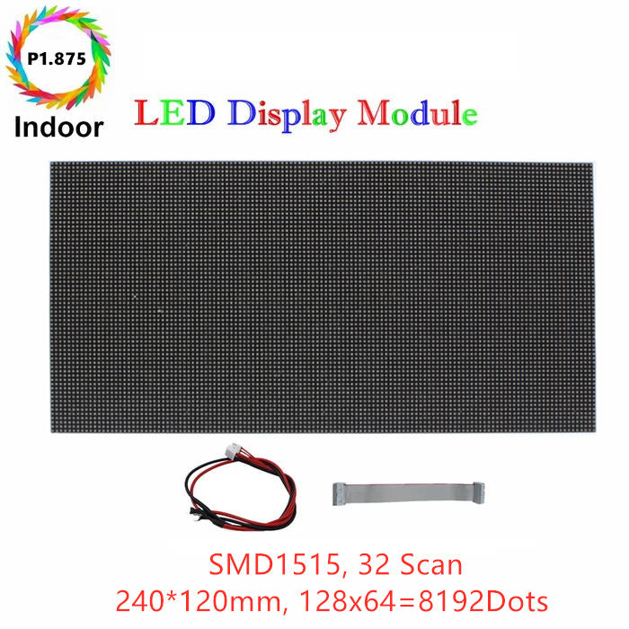 M-HD1.8 High Definition P1.875 (1.875mm) Small Pixel Pitch Indoor LED Module, Full RGB Pixel LED Tile in 240*120mm with 8192 dots, 1/32 Scan, 800 Nitsfor indoor Display