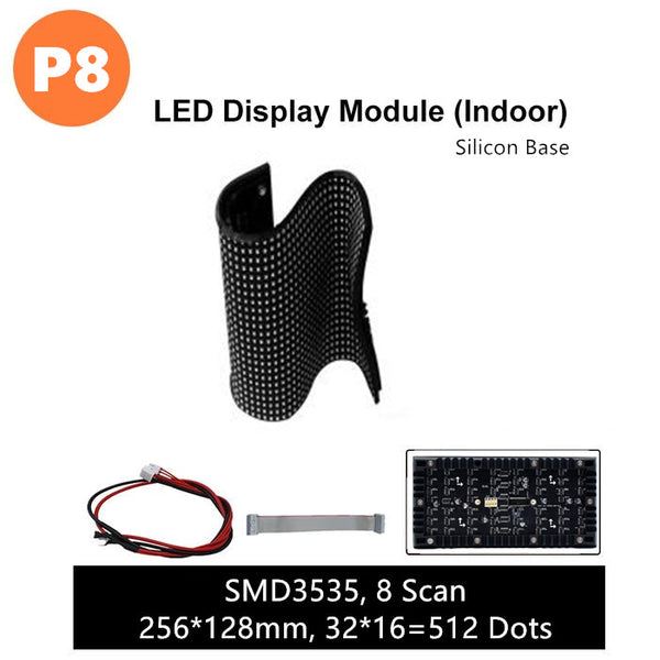 M-SF8 (P8) Silicon Based LED Module, 8mm Full RGB Pixel Panel Screen in 256 * 128 mm with 512 dots, 1/8 Scan, 4500 Nits LED Tile for Indoor Display