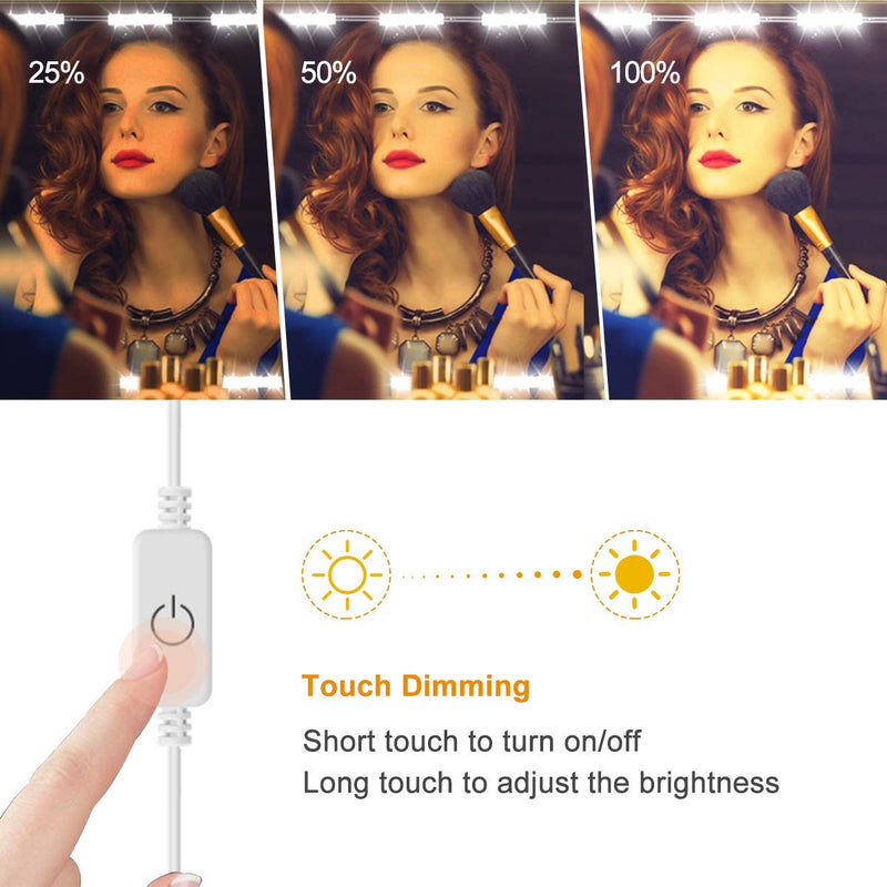 DIY Hollywood Style LED Vanity Mirror Lights Kit Dimmable Lighting, 10FT/20W-60leds, Daylight White, Waterproof IP67 with dimmable and power supply