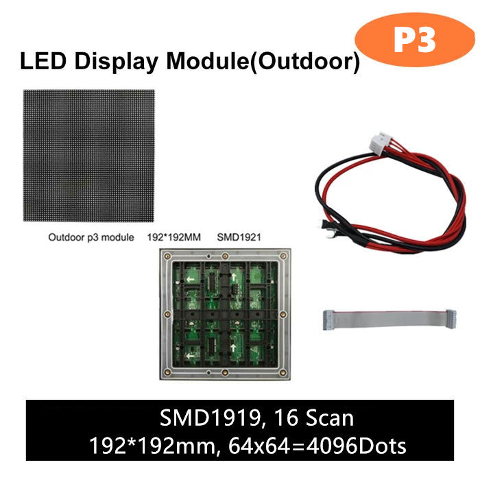 M-OD3 P3 Normal Outdoor Series LED Module, Full RGB 3mm Pixel Pitch LED Tile in 192*192mm with 4096 dots, 1/16 Scan, 5000 Nits  for Outdoor Display