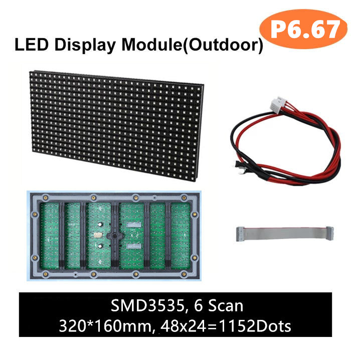 M-OD6.6L P6.67 Normal Outdoor LED Module, Full RGB 6.67mm Pixel Pitch LED Tile in 320*160mm with 1152 dots, 1/6 Scan, 5000 Nits for Outdoor Display