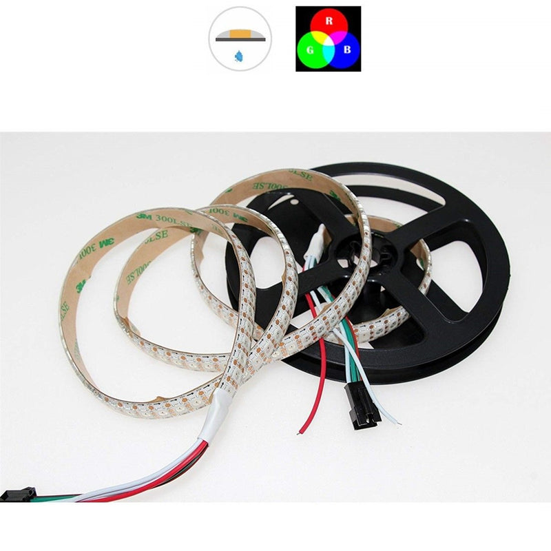 DC 5V SK6812 Individually Addressable LED Strip Light 5050 RGB 6.6 Feet (200cm) 144LED/Meter LED Pixel Flexible Tape White PCB