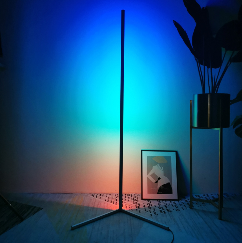 Free Shipping RGB Corner Floor Lamp Nordic Modern LED Floor Lamp Ambient Light w/ Remote Controller