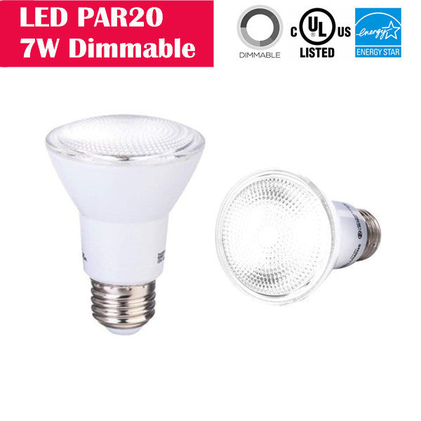 LED PAR20 7W 50W-equivalent CRI80 500LM 40° Beam Dimmable 100-130V AC LED Light Bulb