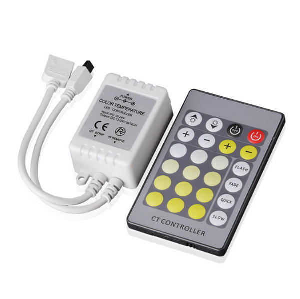 24Key IR Remote Controller for Dual White LED Strip Lights DC12V-24V LED Strip Controller