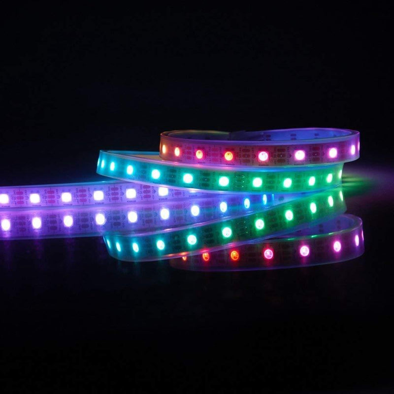 DC 5V SK6812 Individually Addressable LED Strip Light 5050 RGB 16.4 Feet (500cm) 60LED/Meter LED Pixel Flexible Tape White PCB