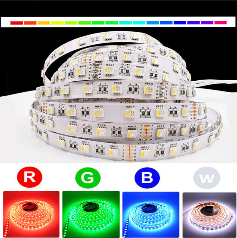 RGBW | RGBWW LED Strips, 16.4FT/5M SMD5050-300 60LEDs 19.2W per Meter 4in1 RGBW LED Strip Lights