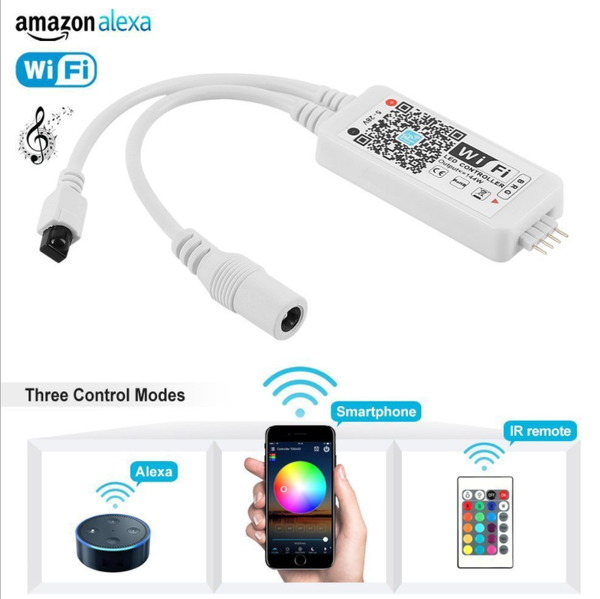 WiFi RGB LED Controller Box Working with Alexa Android IOS System Phone IR Remote Control for RGB LED Light Strip 5050 3528