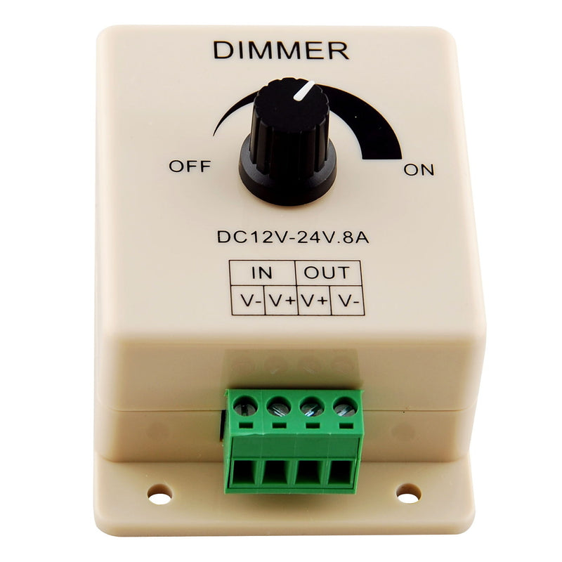 Manual Rotation LED Dimmer 12V-24V DC Switch Wall Mounting