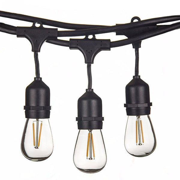 10-Pack Dimmable Waterproof LED Outdoor String Lights - Hanging, 2W Edison Bulbs - 48Ft Commercial Lights for Decor for Patio, Backyard, Garden, Bistro¨C S14 Black - Warm White,Blk(480ft)