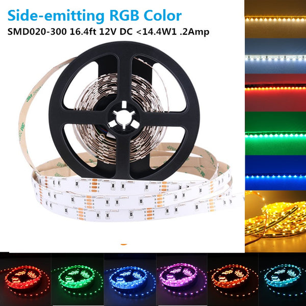 SMD020 Side Emitting RGB Color Changing LED Strip Lights, 16.4FT/5M 60LEDs Per Meter LED Tape