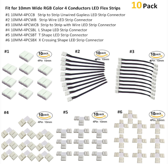 10pcs Pack Solderless Snap Down 4Conductor LED Strip Connectors for 10mm Wide SMD5050 RGB Color Flex LED Strips