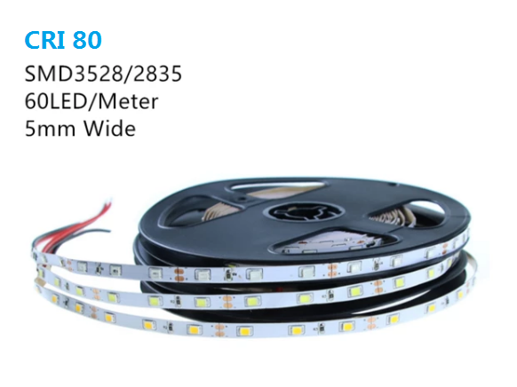 CRI80 2700K-6000K White 5mm Wide Flexible LED Strips 12V Dimmable SMD3528-300 60 LEDs 300lm/Mtr