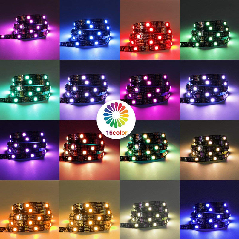 2M/6.56Ft 5V USB SMD5050 30leds/M LED TV Backlight strip lights RGB Multi-color Bias Lighting Kit for 40-60inch HDTV, With RF Remote Controller