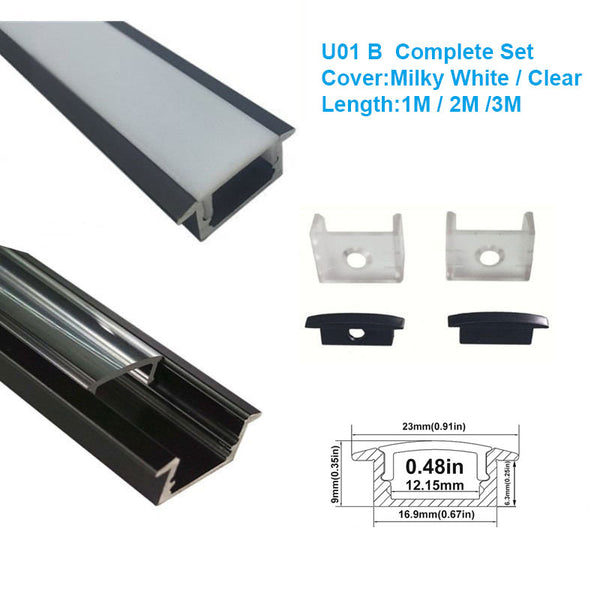 5/10/25/50 Pack Black U01 9x23mm U-Shape Internal Profile Width 12mm LED Aluminum Channel System with Cover, End Caps and Mounting Clips for LED Strip Light Installations